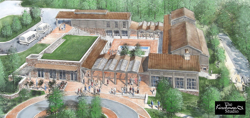 Visualization: Painting of Monticello Visitors' Center/Smith History Center, Ayers Saint Gross, Architects.