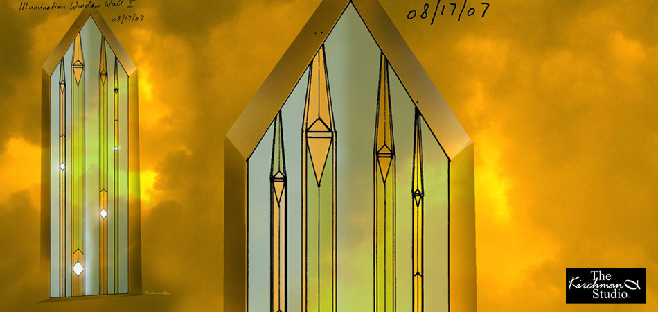 Visualization of Unique Design: Stained Glass Organ Pipes in Window by Xaver Wilhelmy.