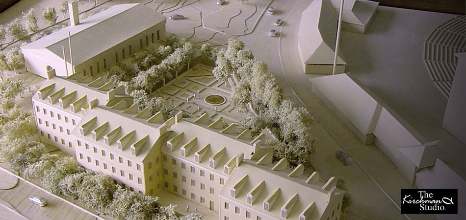 Basswood Model of Samuel Riggs IV Alumni Center for Hugh Newell Jacobsen, Architect.